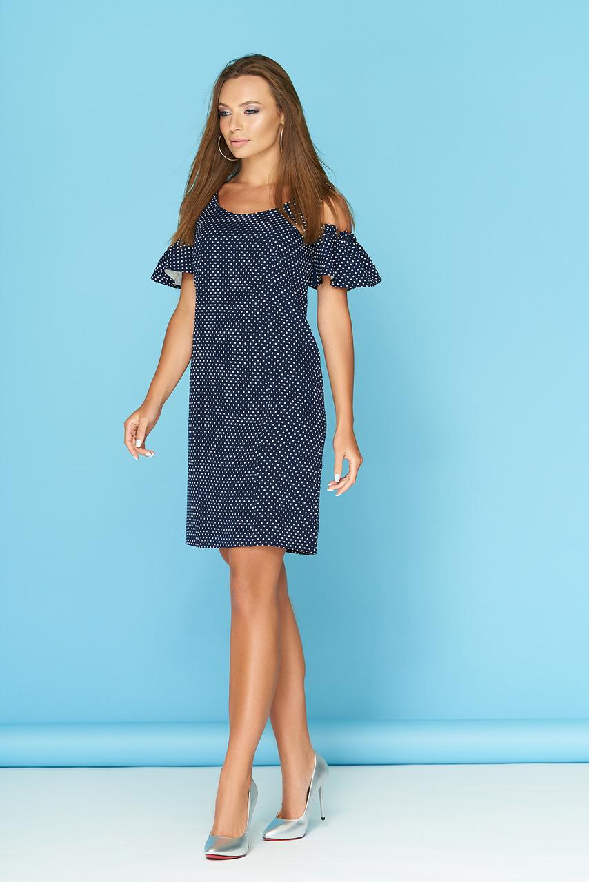 d44760c69a63fd4 Темно-синее летнее платье по колено в горошек с открытыми плечами воланы