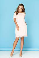 """Нежное легкое летнее платье до колен с декольте на резинке бант сзади """"Ярина 2"""" светло-персиковое"""