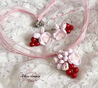"""Цвет вишни""серьги +кулончик, фото 1"