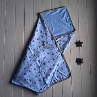 """Конверт-плед для новорожденных легкий на выписку и в коляску """"Звездочка"""" голубой, фото 1"""