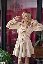 Модное платье выше колен асимметричное свободное рюши с длинным рукавом бежевое , фото 3