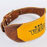 Пояс для пауэрлифтинга кожаный Velo 8181: размер M-XXL