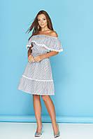 """Летнее свободное платье в полоску с открытыми плечами и широким воланом """"Бриз"""" (полоса черная)"""