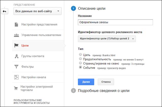 Описание настройка Цели в Google Analytics