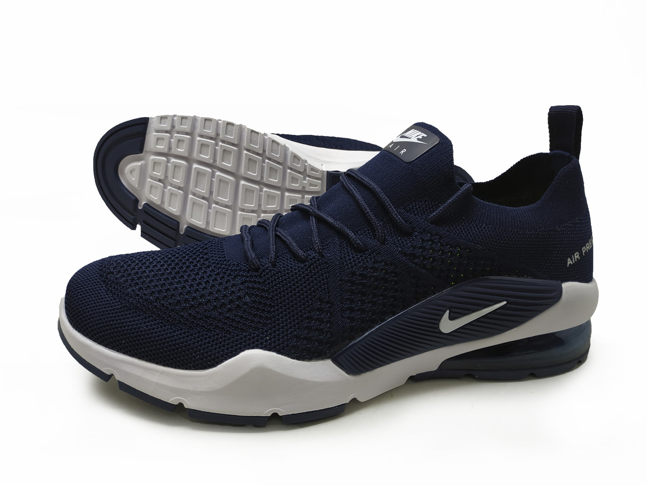 Кроссовки мужские Nike Air Presto 7 сетка на шнурках тёмные синие, копия