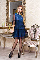 """Трендовое платье-трапеция с сеткой сверху и ажурным гипюром """"Соня"""" (джинс)"""