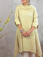 Льняное натуральное платье-туника для тех, кому нужно закрыть шею. Яркие цвета льна на выбор ХС-6ХХЛ, фото 1