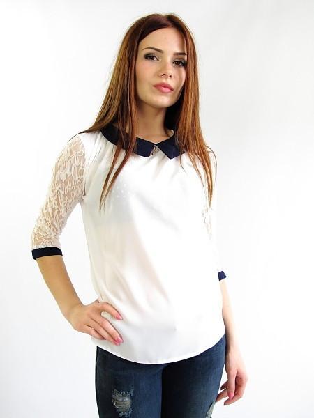 Нарядная белая блуза делового стиля