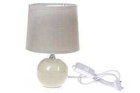 Лампа настольная с керамическим основанием и тканевым абажуром, цвет - льняной (244-102)
