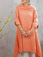 Натуральне лляне плаття-туніка для тих, кому потрібно закрити шию. Яскраві кольори льону на вибір ХС-6ХХЛ, фото 1