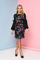 """Женственное нарядное платье выше колен с цветочным притом и оригинальными длинными рукавами """"Шери"""" 7"""