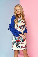 """Женственное нарядное платье выше колен с цветочным притом и оригинальными длинными рукавами """"Шери"""" 5"""