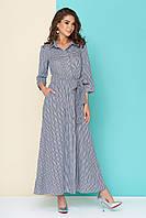 """Летнее приталенное длинное женское платье в клетку, рукав 3/4 """"L 616"""", синее"""