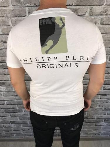 32aec223875b3 Стильная Мужская Футболка Philipp Plein белая Турция Качество Брендовая  Филипп Плейн копия, ...
