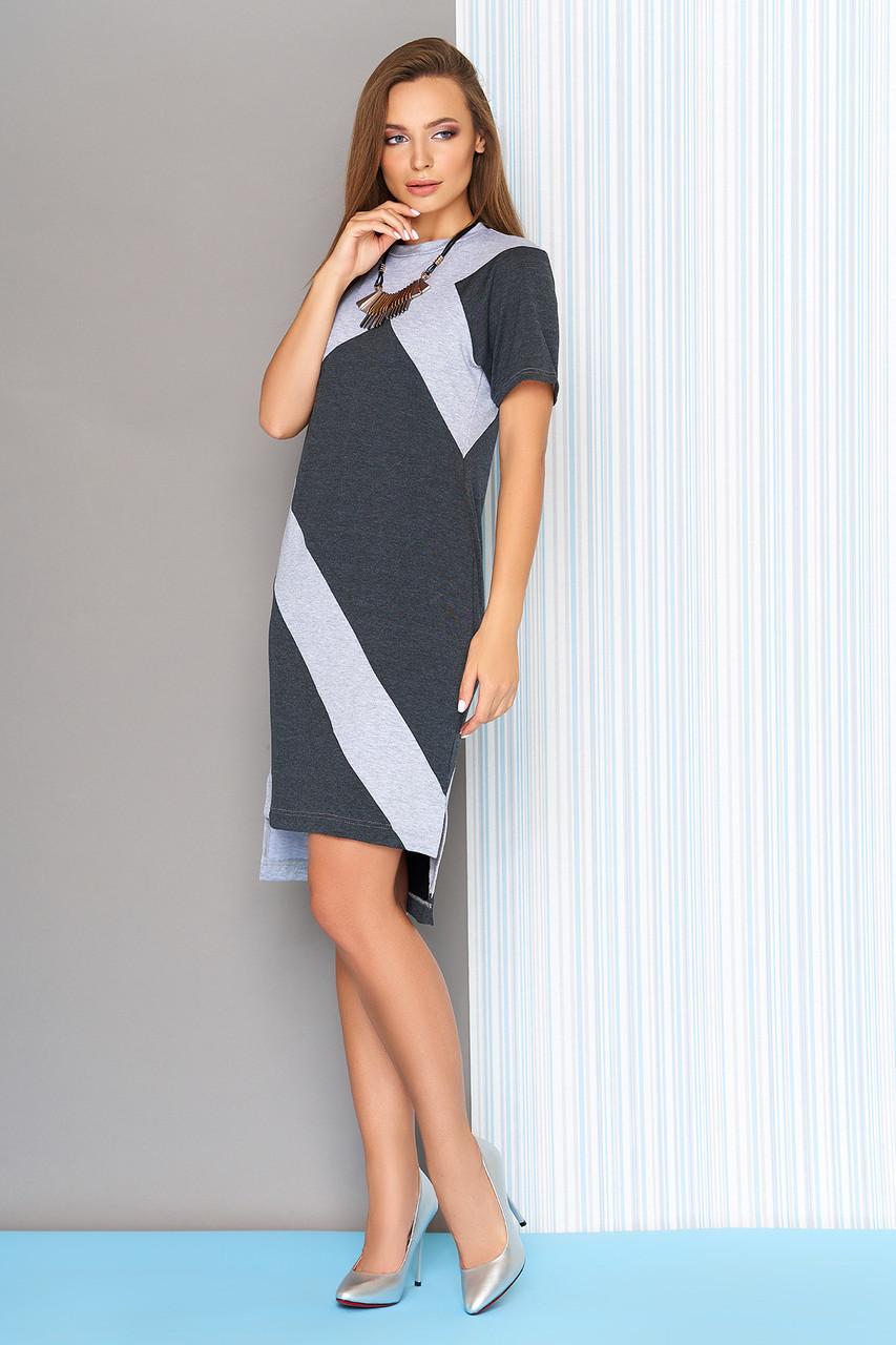 """Стильное двухцветное платье миди с короткими рукавами длиннее сзади """"L-562"""" графит"""