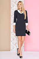 Классическое офисное платье футляр до колен рукава 3/4 с белыми манжетами и воротником А-94 черное