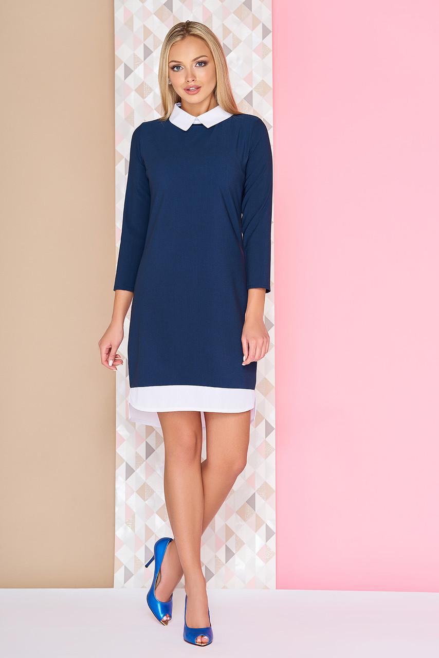 80bd9eb168d Офисное платье-рубашка по колено с белым воротником и подолом А-95 синее -