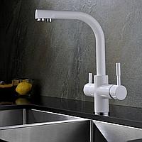 Комбинированный кухонный смеситель Blue Water Польша Alabama white подключение фильтрованной воды, фото 1