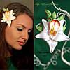 """""""Тропическая орхидея с бутонами"""" заколка цветок  для девушки из полимерной глины."""