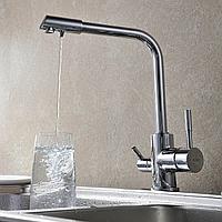 Комбинированный кухонный смеситель Blue Water Польша Amanda chrom подключение фильтрованной воды, фото 1