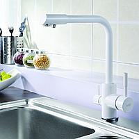 Комбинированный кухонный смеситель Blue Water Польша Amanda white подключение фильтрованной воды