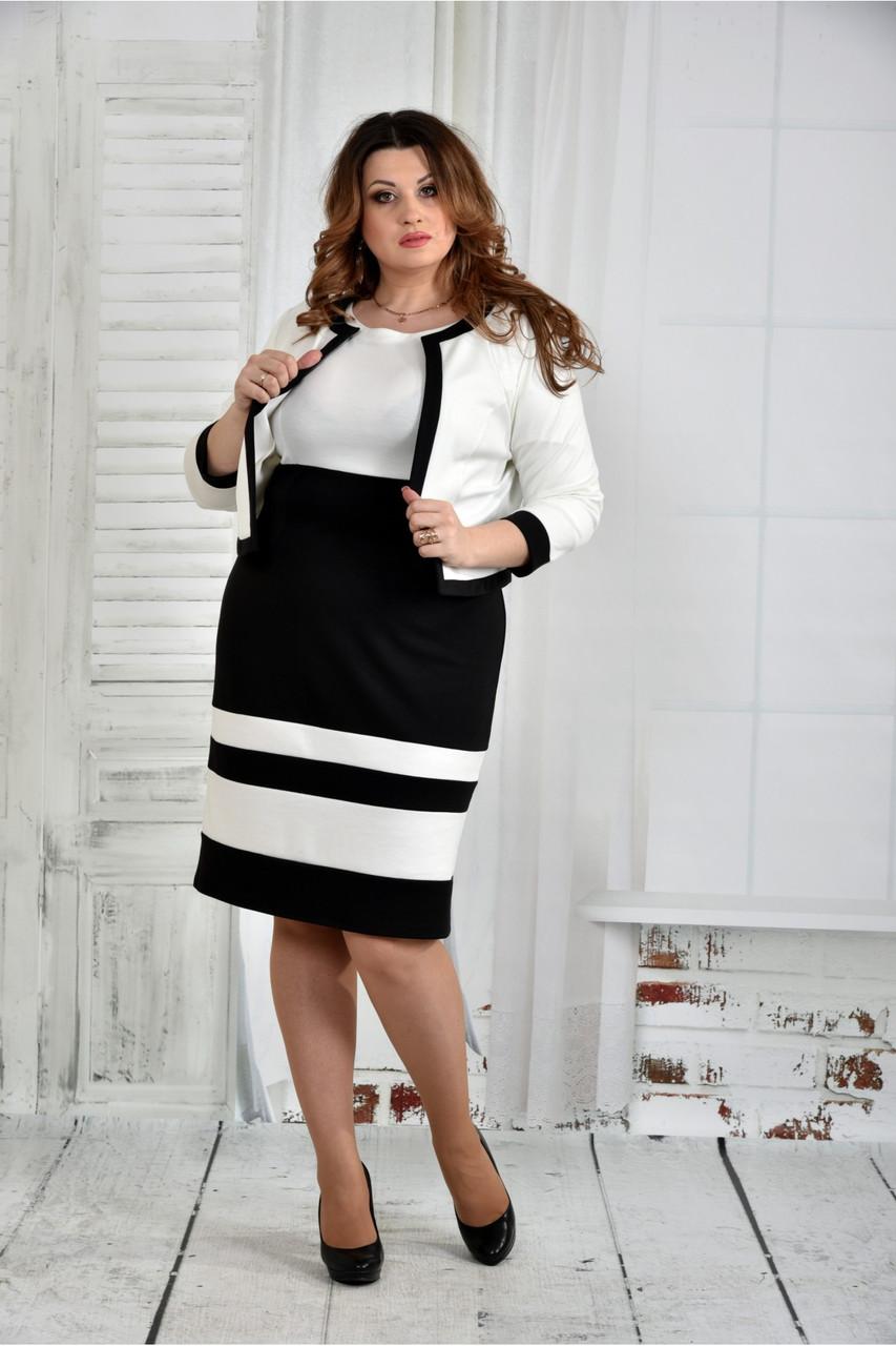 Черно-белый костюм 0435-1 (платье и жакет)большой размер