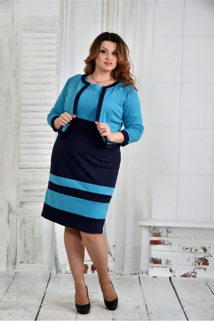 Голубой костюм 0435-2 (платье и жакет) большой размер