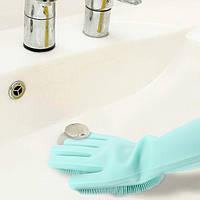 Силиконовые перчатки для уборки ванной комнаты и туалета (правая и левая перчатки) Magic Brush