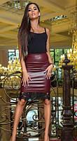 Модная юбка карандаш из эко-кожи с кружевом черная. Тренд сезона.