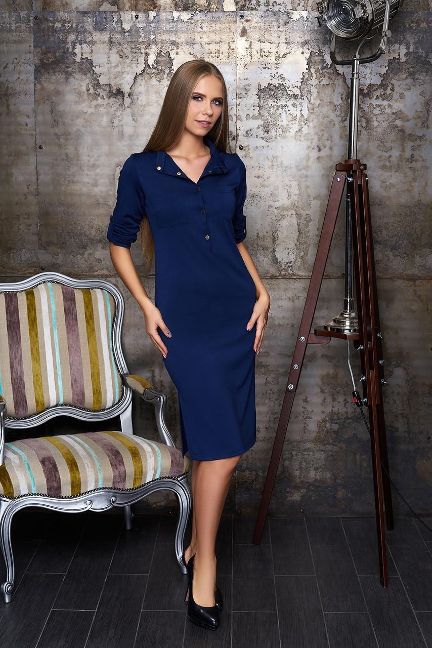 """Женское платье   """"А 54""""   прямого кроя с разрезами по боковым швам(цвет синий)"""