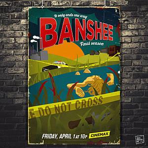 Постер Banshee, Баньши, сериал. Размер 60x53см (A2). Глянцевая бумага
