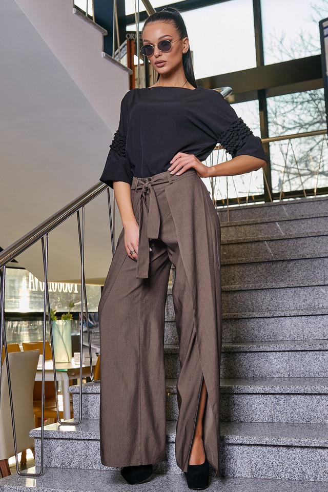 Женские молодёжные коричневые брюки, элегантные, праздничные, гламурные, нарядные, авангардные