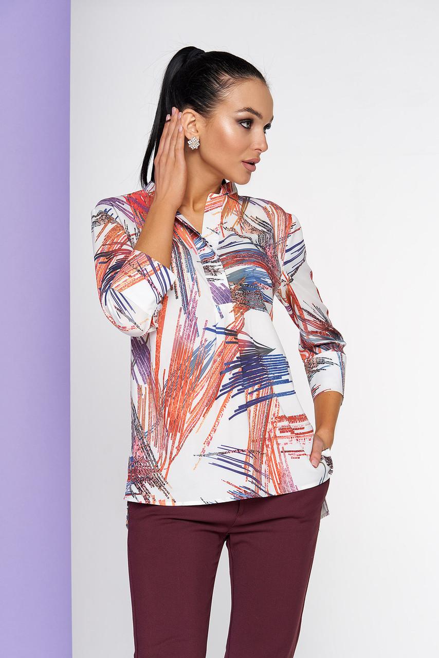 Яркая стильная блузка с удлиненной спинкой