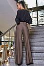 Женские молодёжные коричневые брюки, элегантные, праздничные, гламурные, нарядные, авангардные, фото 3