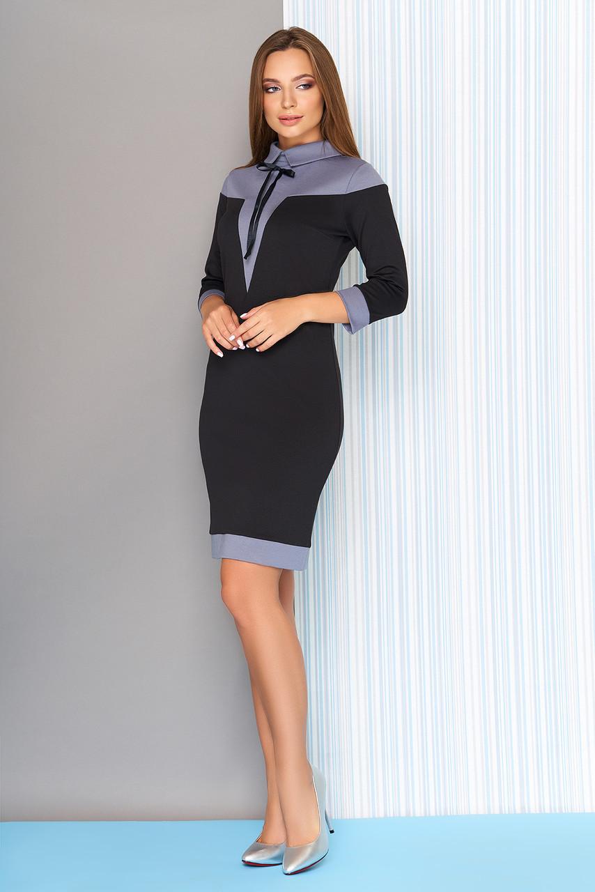 Лаконичное двухцветное платье-футляр (черный)