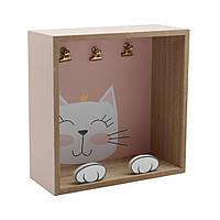 ТМ Кактус Полка настенная розовая Cat МДФ 24см
