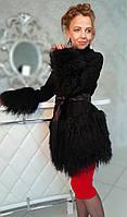 Пальто с каракуля, обрамленно ламой. Модель 200201937, фото 1