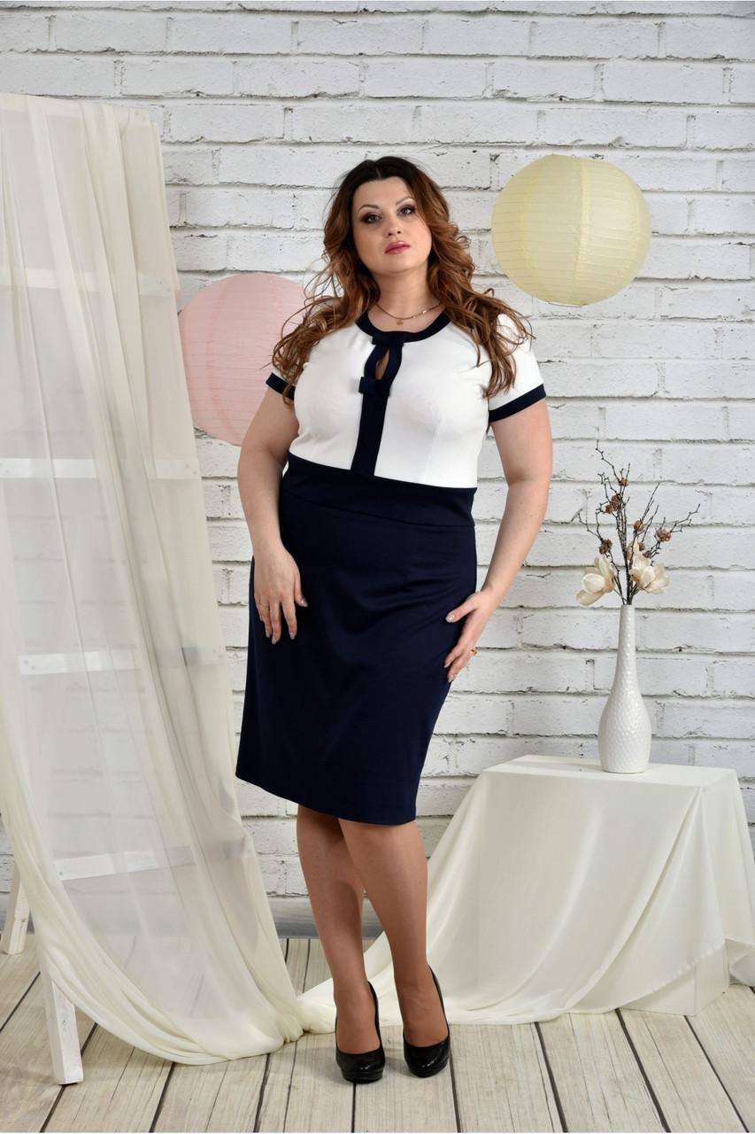 Сине-белый костюм 0444-1 Платье и жакет