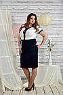 Сине-белый костюм 0444-1 Платье и жакет, фото 3