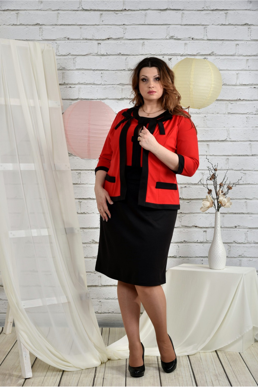 Алый костюм 0444-3 Платье и жакет