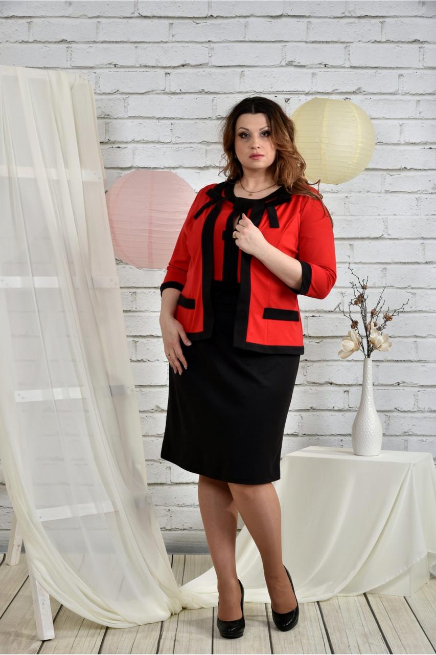 Червоний костюм 0444-3 Плаття і жакет