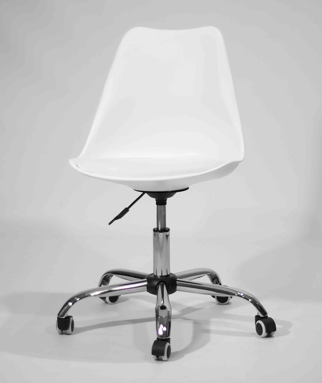 Кресло мастера пластик на колесах Milan office (Милан) белое, мягкое сиденье экокожа