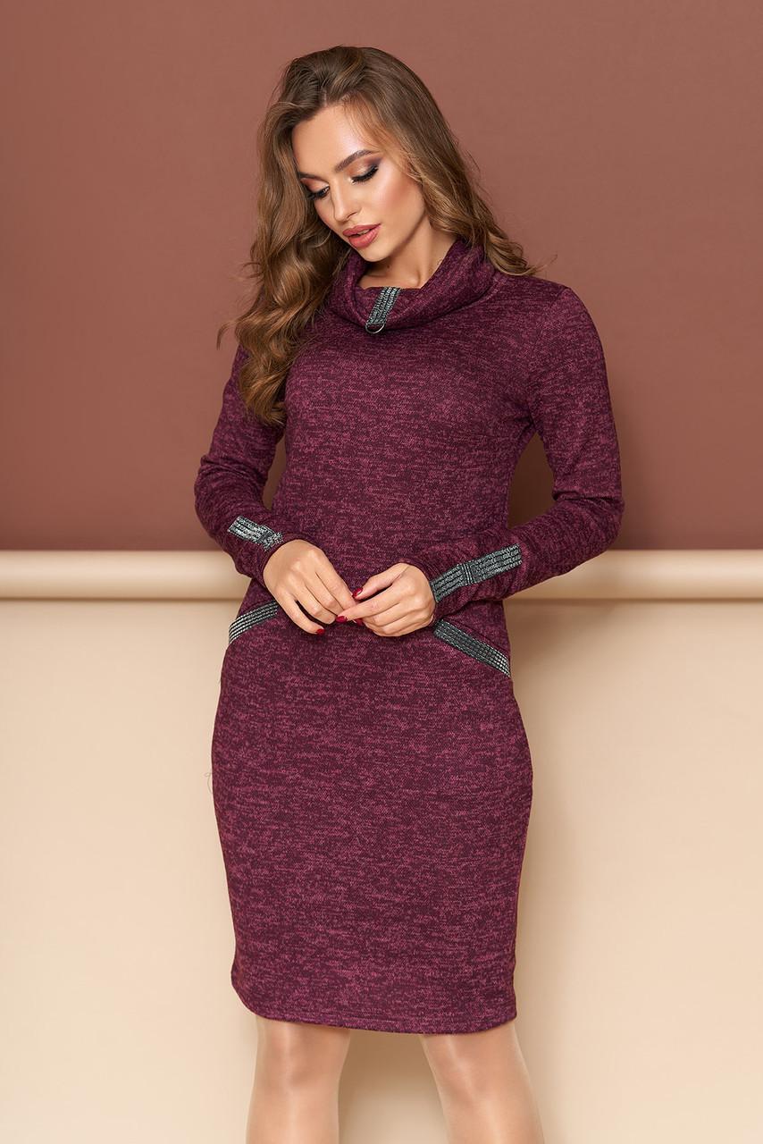"""Платье  """"Леди""""  с  декоративной трикотажной тесьмой по воротнику, карманам и рукавам(бордо)"""