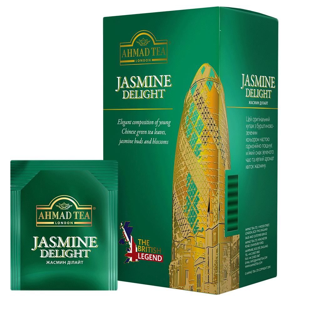 Пакетований чай Ahmad Tea The British Legend Жасмин Дилайт зелений з жасмином 25 х 2 м