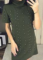 Женское оригинальное мини платье трикотажное с декором жемчуг,см. и читайте описание товара