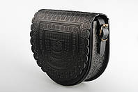 """Кожаная женская сумка, чёрная сумка ручной работы, сумка через плечо """"Тобивка"""", фото 1"""
