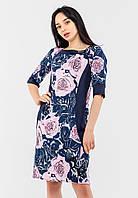 Женское платье с цветочным принтом и однотонными вставками Modniy Oazis розовый 90345, фото 1