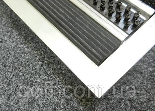Грязезащитный коврик «Лен» наполнение (резина+щетка+скребо