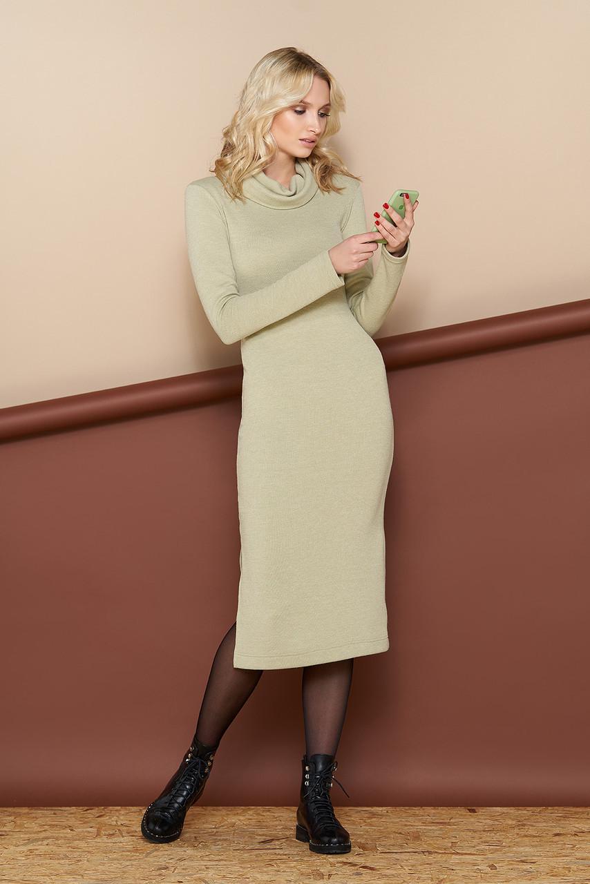 """Уютное шерстяное женское платье """"L-431""""  с воротником """"хомут"""" (фисташковый)"""