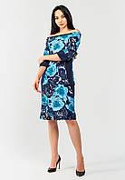 Женское платье с цветочным принтом и однотонными вставками Modniy Oazis голубой 90345/1